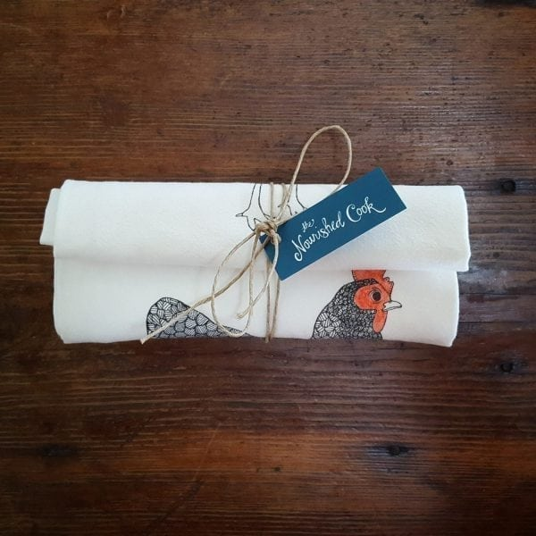 mother hen flour sack towel rolled up and tied